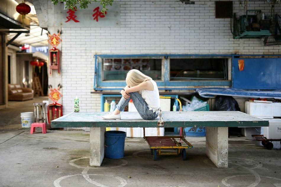 Beautiful stock photos of sad, Architecture, Blond Hair, Building Exterior, Built Structure