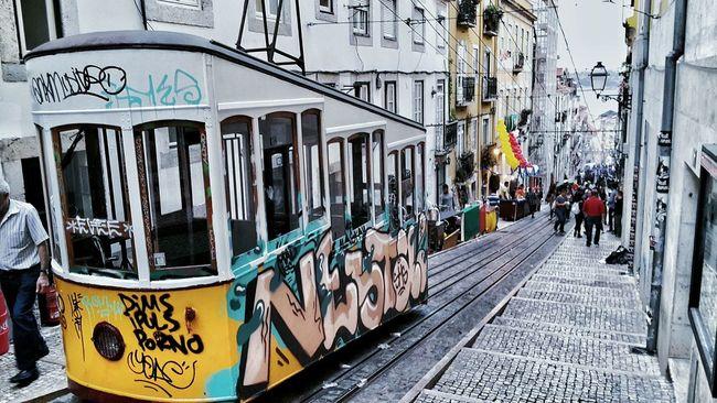 Lisbon City Street City Cable Car Architecture