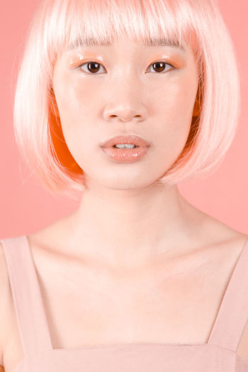 lab 1 Pink Color Salmon Colored Makeup Wig Studio Shot Portrait Looking At Camera One Person Front View Young Adult Only Women Adult One Woman Only Close-up Beauty Futuristic Love Yourself
