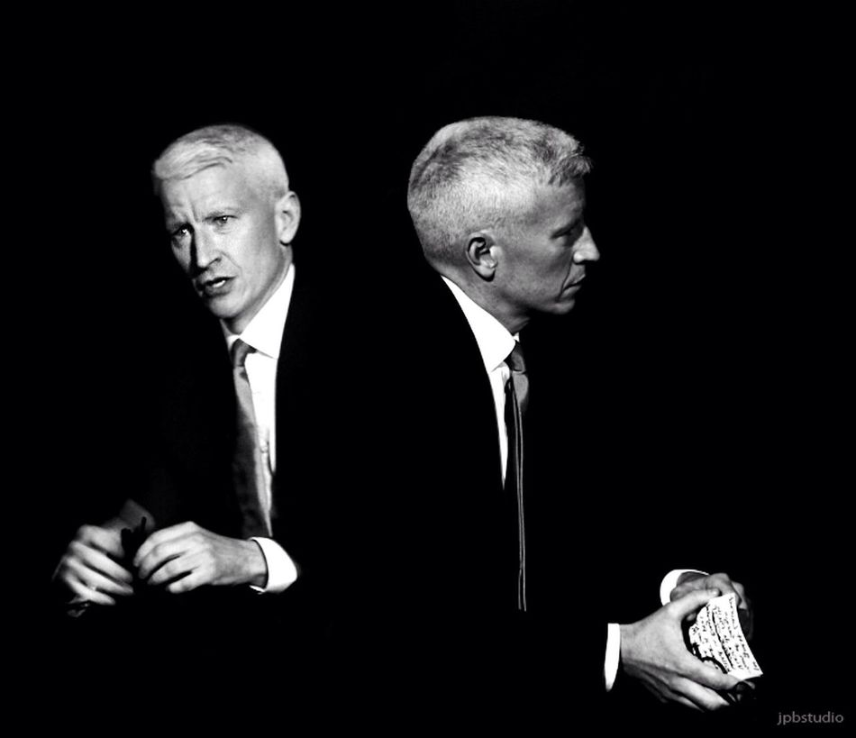 Anderson Cooper/ NYC News On TV On Air Reporter News Correspondent Portrait Of A Man  Dyptich Black And White Celebrity Portraiture The Portraitist - 2016 EyeEm Awards