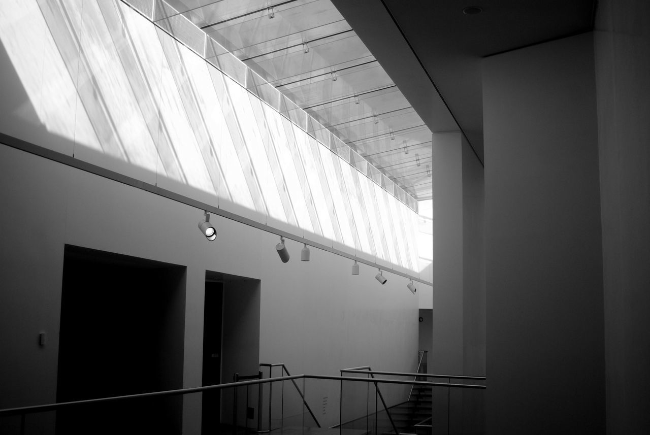 indoors, architecture, low angle view, no people, built structure, illuminated, day, modern
