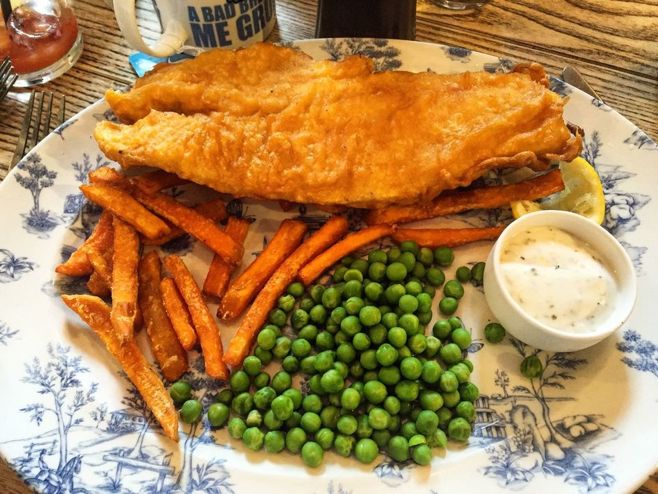 Fish and chips with garden peas Fish & Chips Fish Chips Peas Food Food Network Uk United Kingdom Northampton Northants Northamptonshire