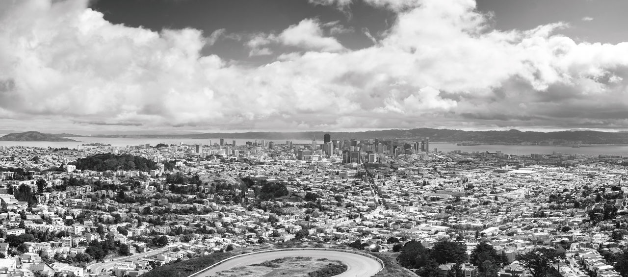 Aerial View Alcatraz Bay Area Black & White Black And White City Cityscape Cloud - Sky Day Mountain Nature No People Outdoors Panoramic Scenics Sea Sky Skyscraper Street Twin Peaks Water