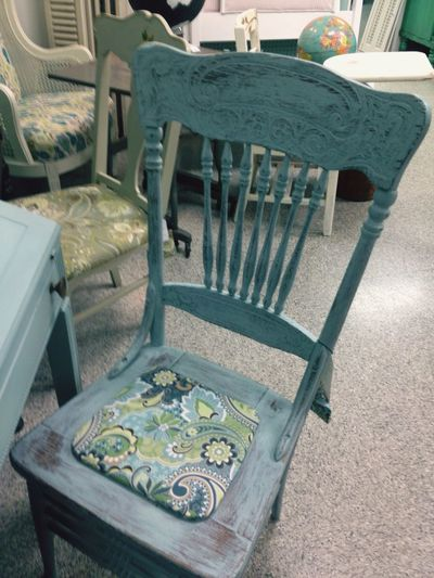 Pastel Power All Bran New a restored chair with new chalk paint and new fabric . Change Of Colors Change Is Good  Pastel Blue Is The Hue