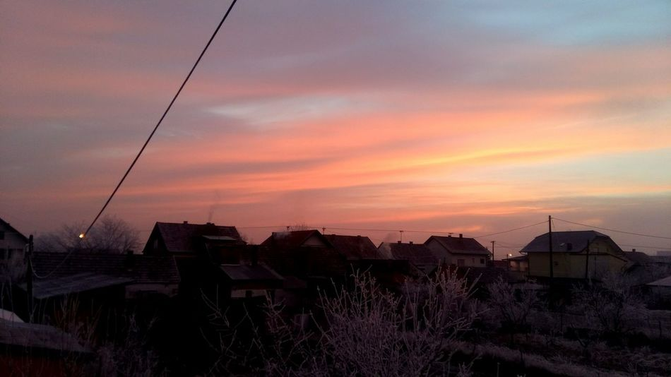 Colorful Winter Snowy Morning Slavonski Brod Trees Rooftops Croatia