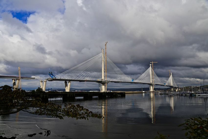 New Road Bridge - Queensferry Crossing. Firth of Forth. Under construction. Bridge Cloudy Engineering Famous Place Mode Of Transport Outdoors Sea Sky Tourism Transportation Water Waterfront