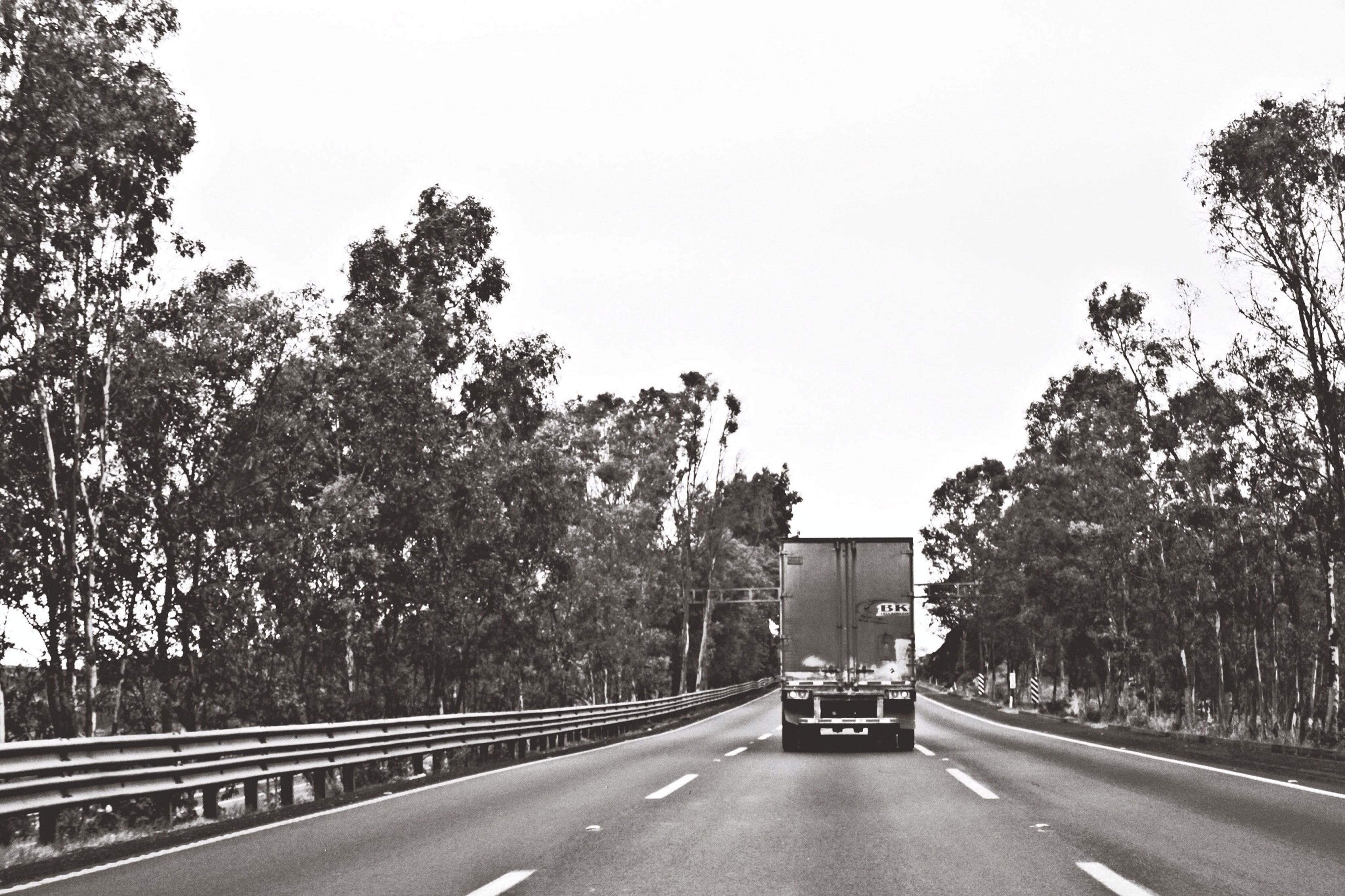 transportation, road, the way forward, tree, road marking, clear sky, diminishing perspective, car, street, land vehicle, vanishing point, empty road, treelined, empty, mode of transport, copy space, sky, long, day, outdoors