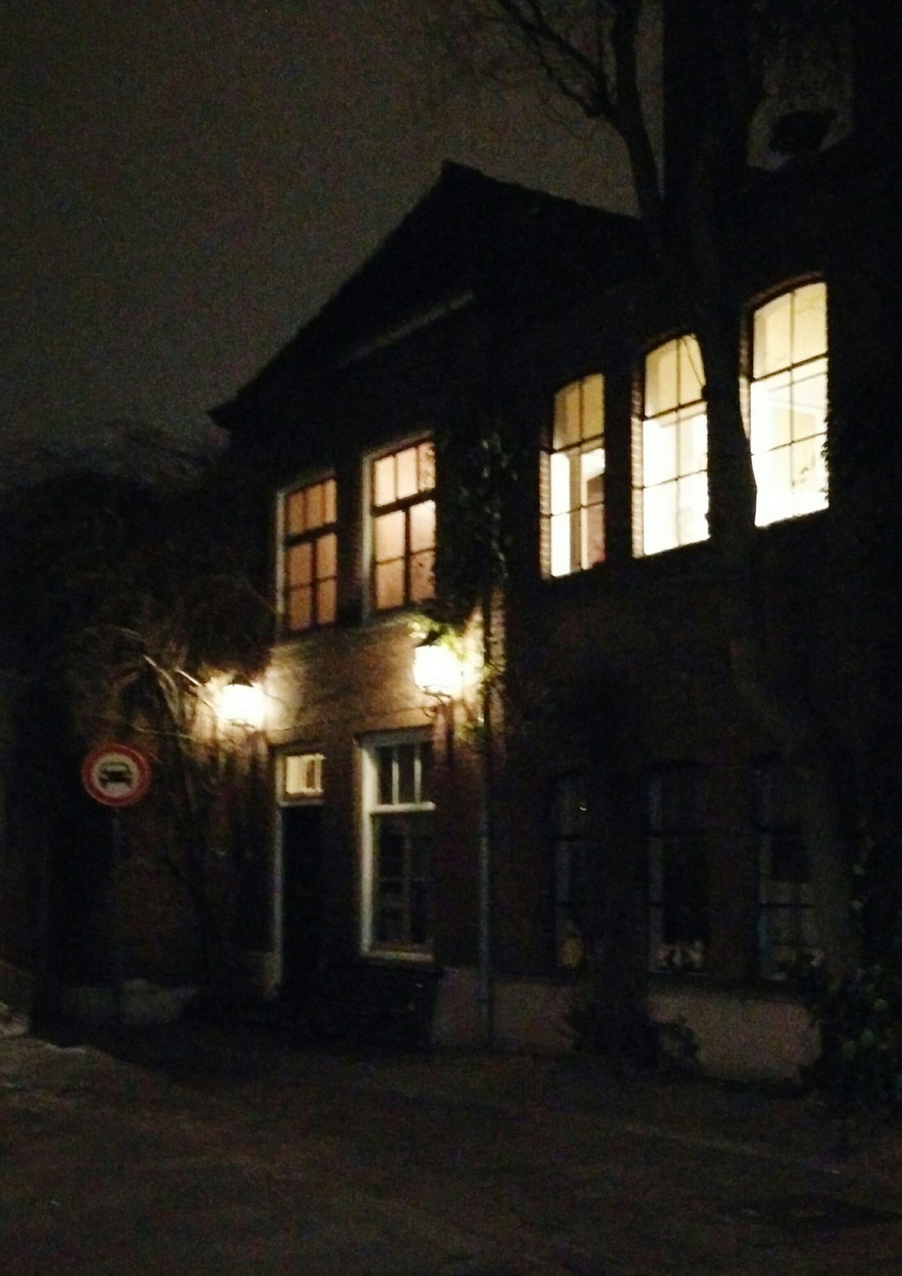Lighted Windows Old Street Old House Night Photography Street Photography Mobile Phone Photography Night City