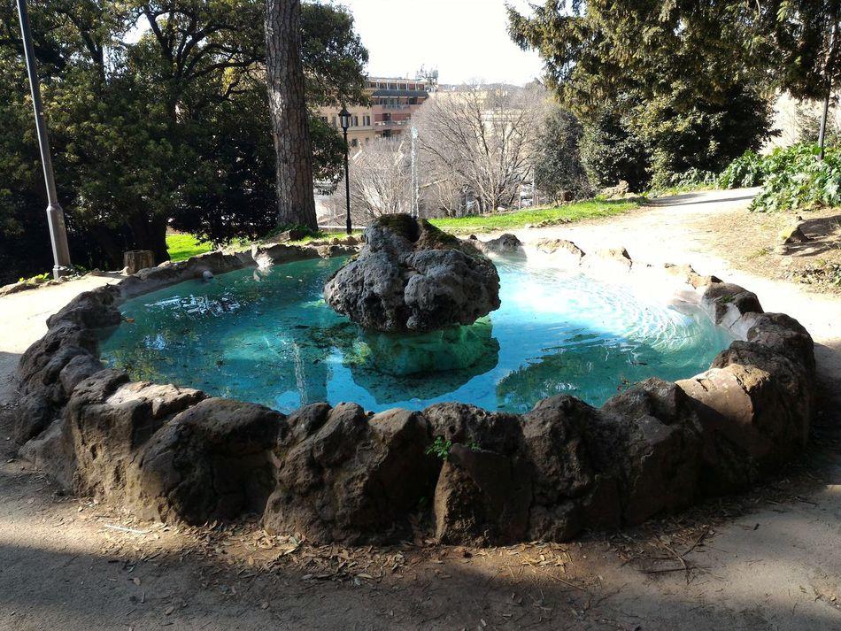 Round Fountain Rocks Rome Italy🇮🇹 Pincio