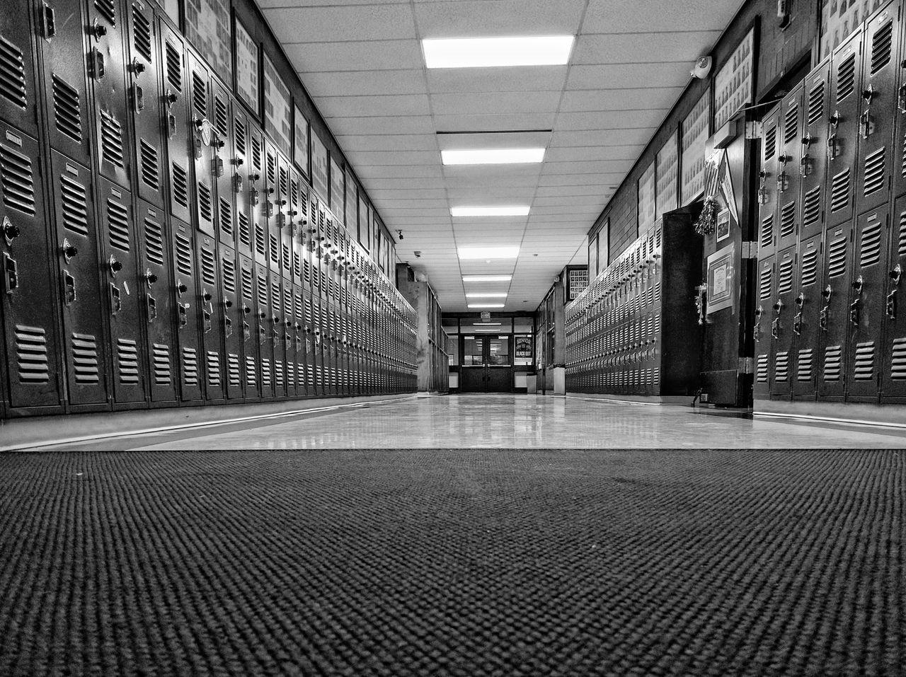 Broken Geometry Lockers School Red And Black Blsckandwhite