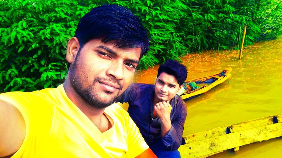The bank of the Ganga river..... Mobile Photography Two People Friends Boat The Ganges River Water Day Adult Young Adult