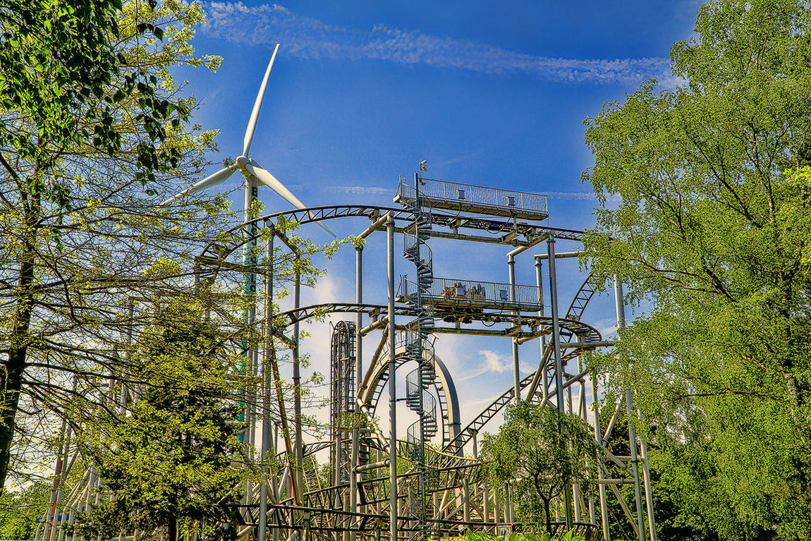 Bobbejaanland, Belgium Achterbahn Adventurepark Blue Bobbejaanland Cloud - Sky Day Green Color Growth HDR Low Angle View Outdoors Pretpark Sky Tree Vapor Trail