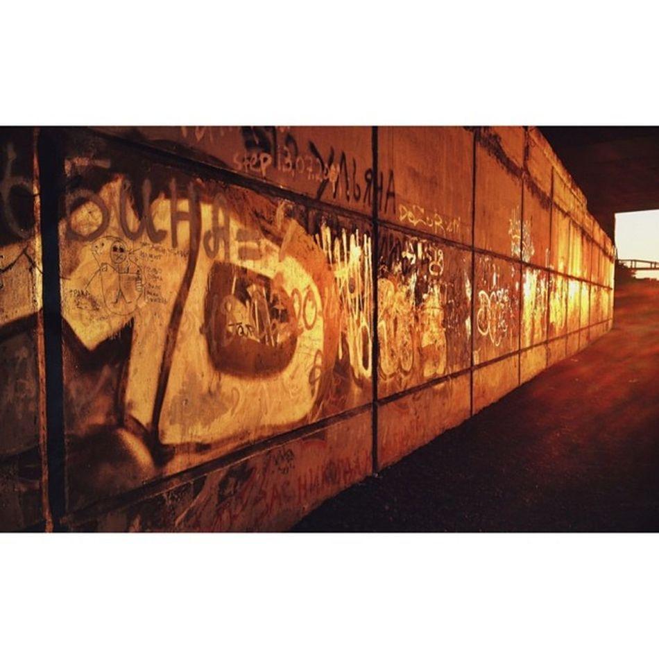 Just a graffiti wall under the bridge ? Graffiti Wall Sunset Bridge follow russia siberia kemerovo unitedstatesofsiberia россия сибирь кемерово photooftheday