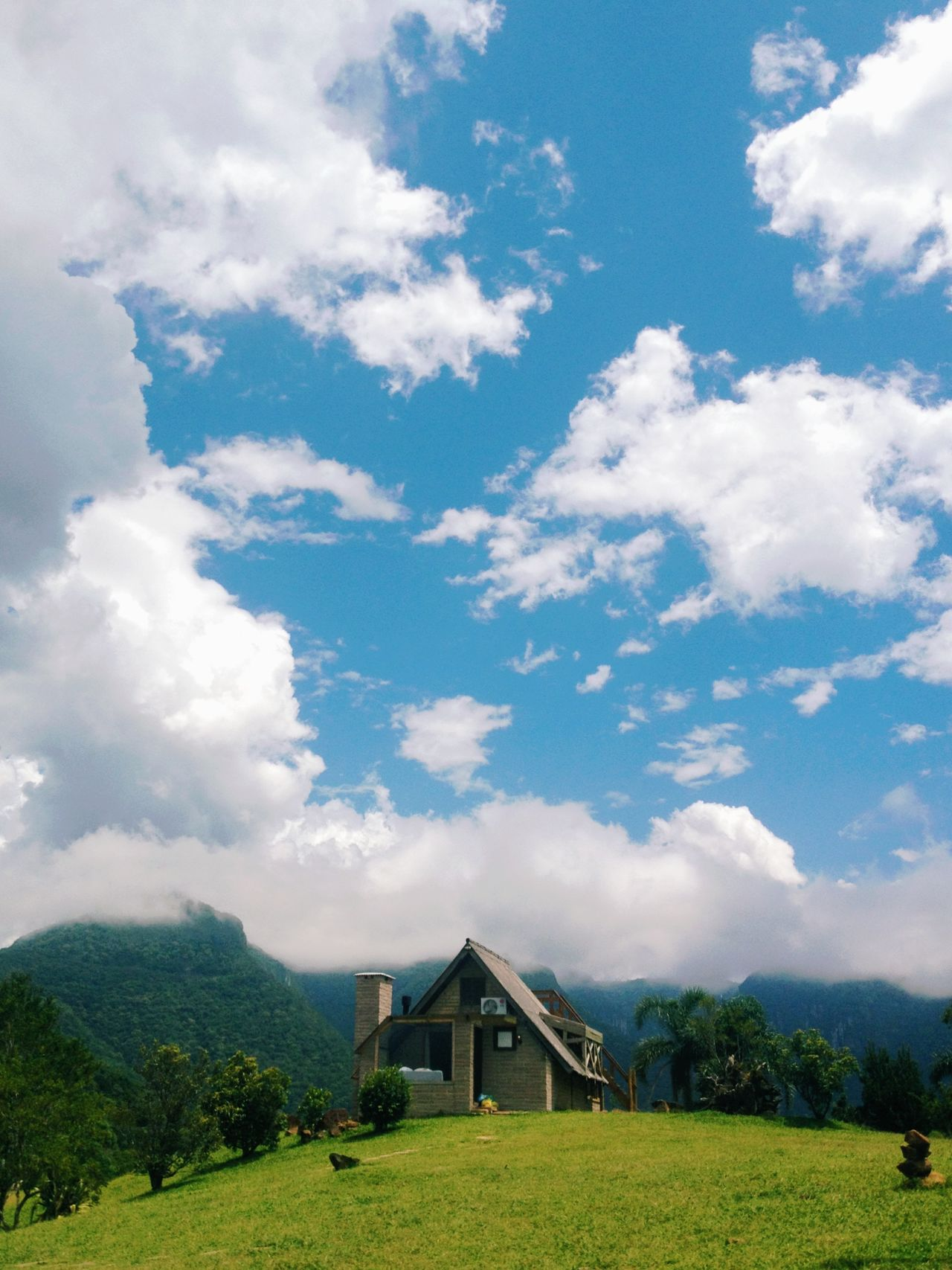 The Cabin in The Mountains Adapted To The City Architecture Beauty In Nature Cabin Cloud - Sky Day Grass Landscape Nature No People Outdoors Paradise Scenics Sky
