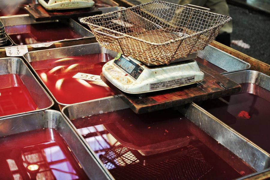 Blood at tokyo fishmarket Animal Basket Blood Blood Bath Cost Day Dealer Death Dirty Everyday Fish FishMarket Fishmonger High Angle View Indoors  Japanese Culture Japanese Food Messuring No People Reflection Sushi Tokyo Fishmarket Trading Wheight
