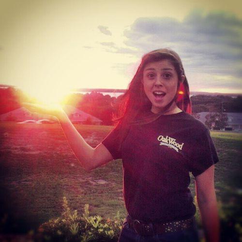 I'm holding the sun! Sunset Oakwood Work Dorkandproud