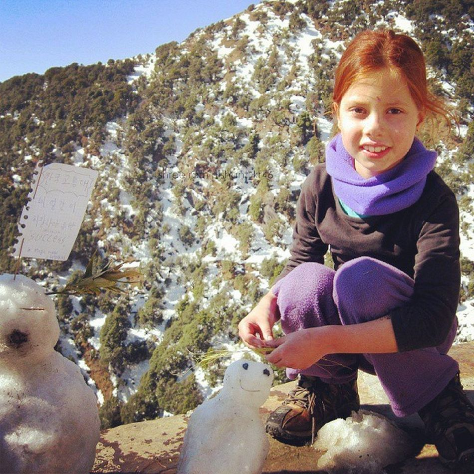 Ashley of Australia in MagicViewCafe with her parents on TrailToTriundHill Triund in snow...Hiking Snowman Dolls Trekking Camping in high Dhauladhar Mountains of Himalayas in Dharamshala Smiling baby Girl :) Innocent Snowgirls