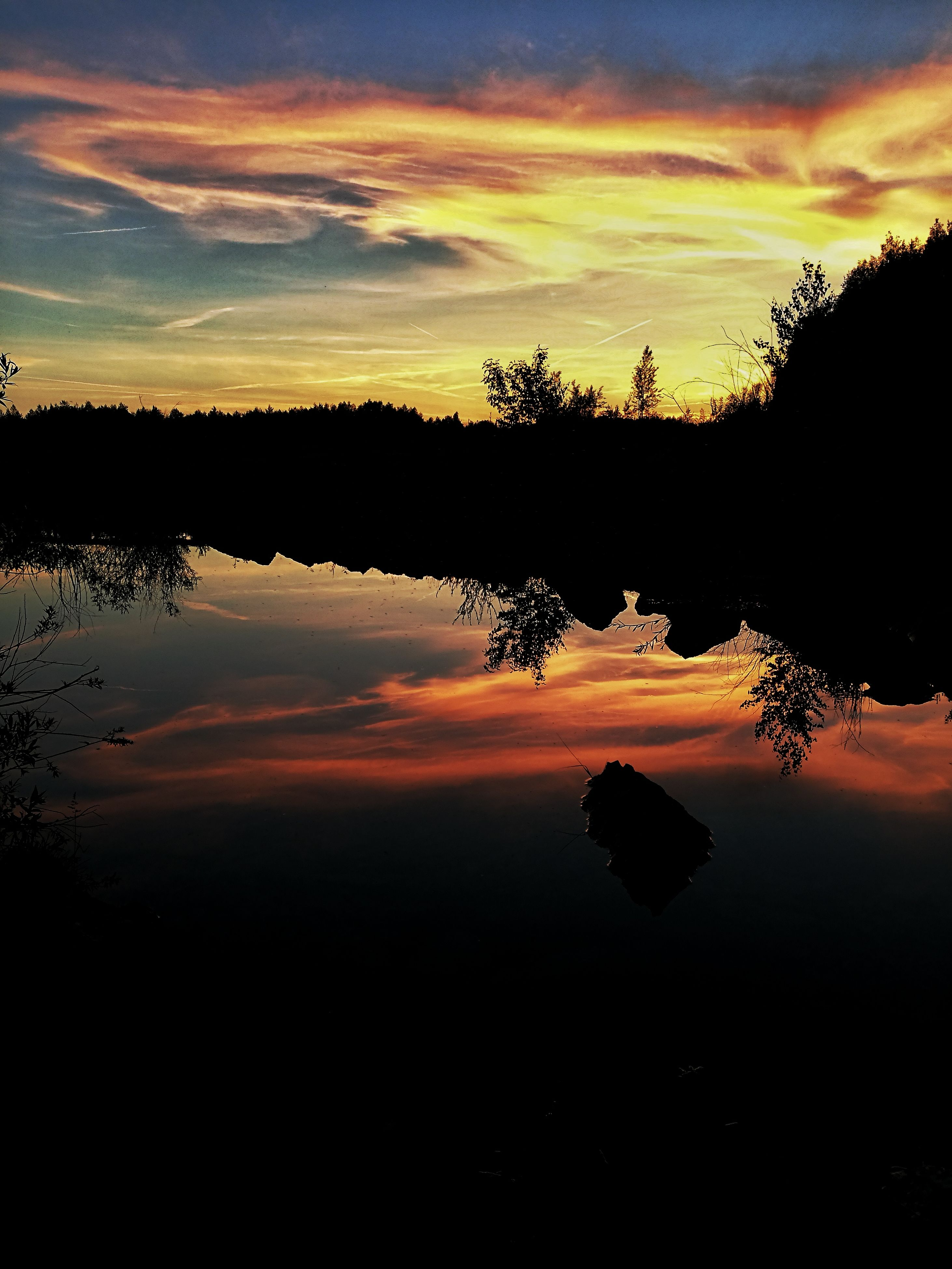 sunset, silhouette, tree, beauty in nature, tranquil scene, nature, tranquility, reflection, scenics, sky, orange color, cloud - sky, idyllic, water, lake, outdoors, no people, landscape, day