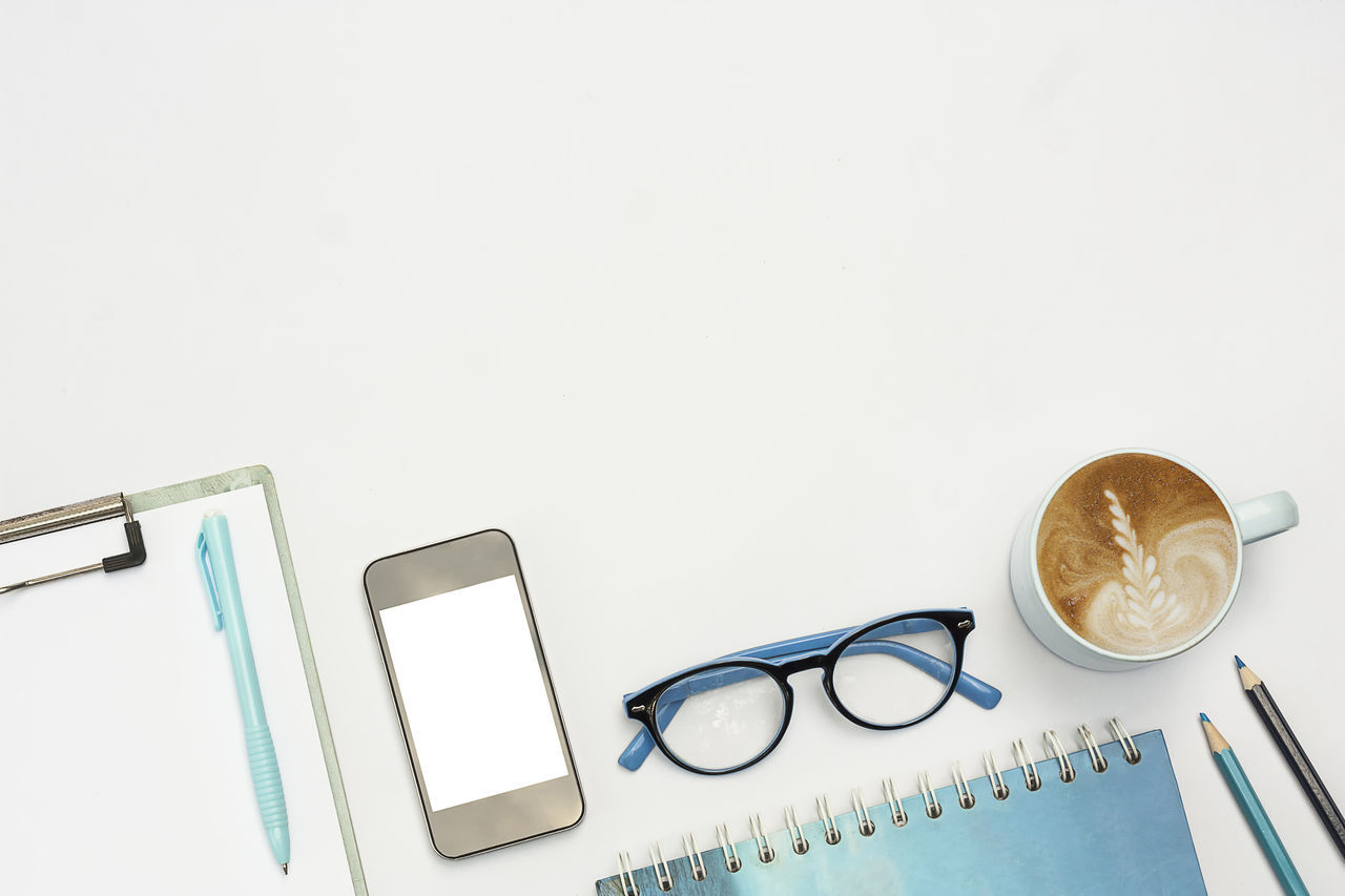 eyeglasses, still life, copy space, white background, table, directly above, no people, indoors, studio shot, close-up, day
