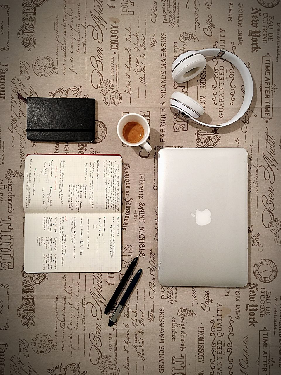 coffee - drink, coffee cup, directly above, paper, diary, table, refreshment, food and drink, no people, indoors, close-up, drink