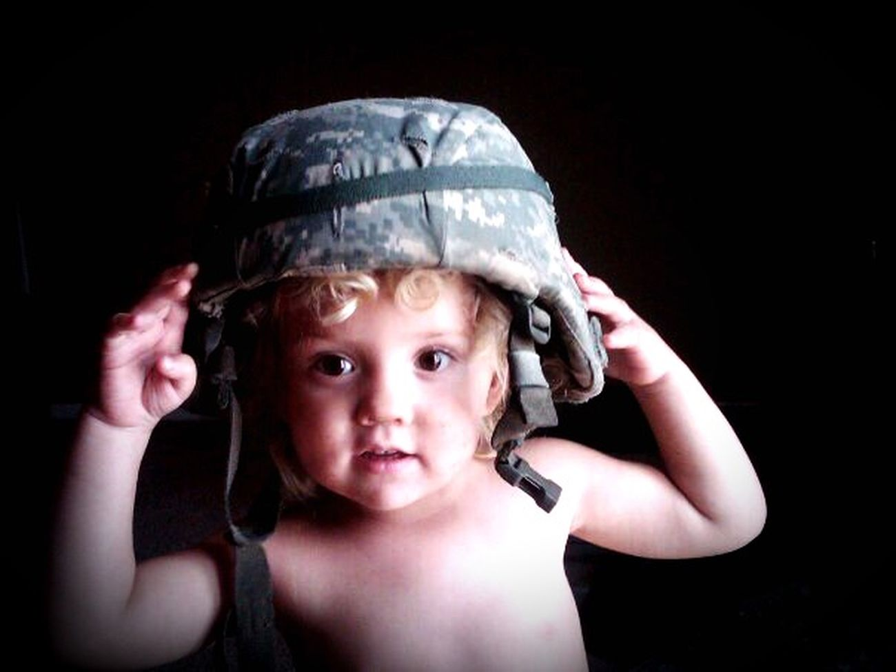 Baby Army Baby Army Girl Cute Simple Photography Natural Beauty Beautiful Little Taking Photos Check This Out Friend's daughter wearing her daddy's helmet.