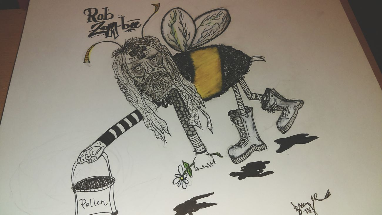 Rob Zombee. Drawlloween challenge day one: Zombie. Drawing ✏ Sketchbook Halloween Robzombie Bee 🐝 Zombie Art, Drawing, Creativity ArtWork Sketching Paper Creativity MyArt