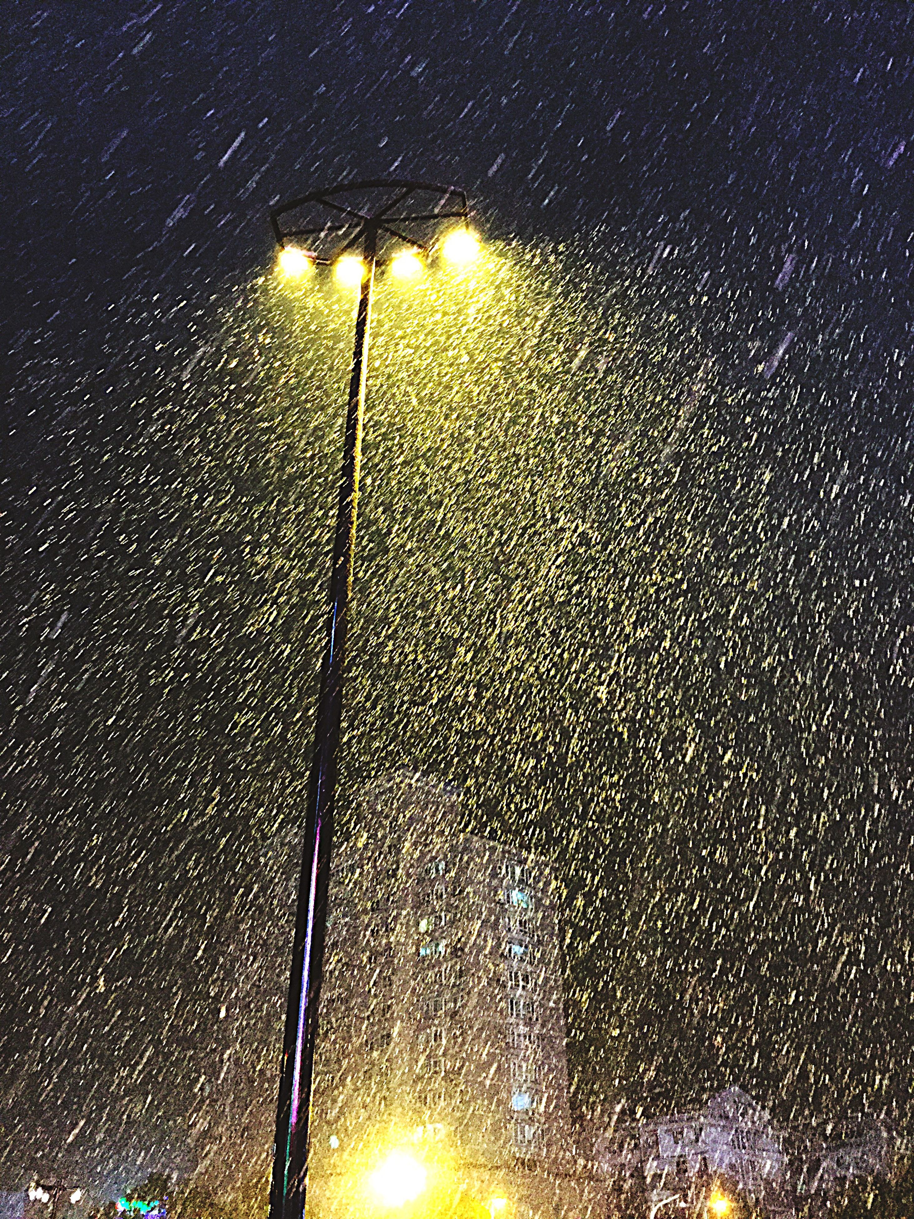 wet, water, night, drop, rain, illuminated, street light, sky, raindrop, season, lighting equipment, no people, sunset, nature, reflection, weather, silhouette, electricity, street, glowing