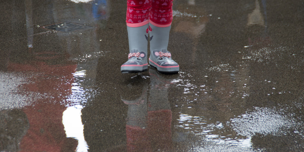 I wish I had wellies like that when I was little. Carefree Child Childhood Footwear Fun Girl Human Leg Low Section Pavement Puddles Rain Real People Shoe Standing Wellies  Wellingtons Young