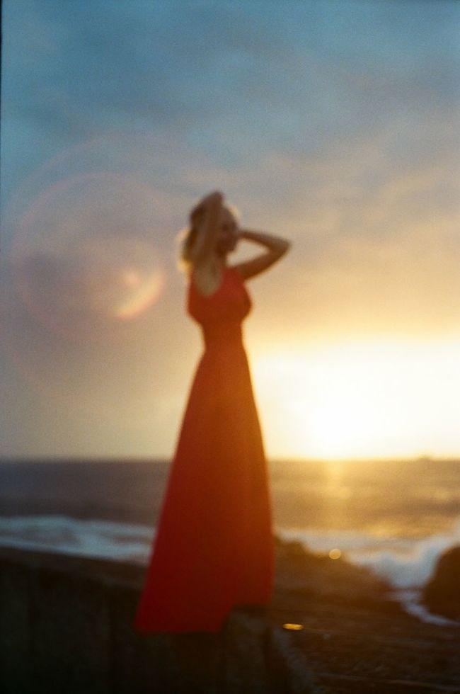 35mm Atlantic Ocean Film Photography Girl Kodak No Focus Person Porto Portugal Red Dress Sunset Zenit