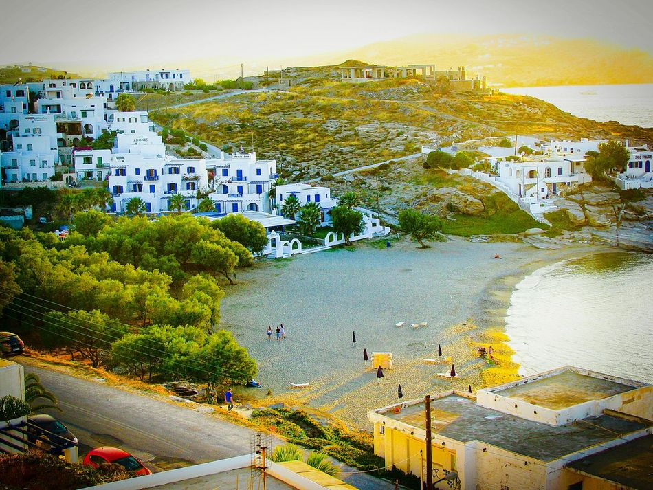 Beach in the Evening Light Beach Photography Life Is A Beach Summer Memories 🌄 Summer Holidays Summer Views Surf's Up Village Houses Golden Hour Sunset Sunset_collection Yellow Sky Share Your Adventure Shades Of Yellow Naoussa Paros Island A Moment Of Zen... Greek Islands Tranquility Sandy Beach Pastel Power