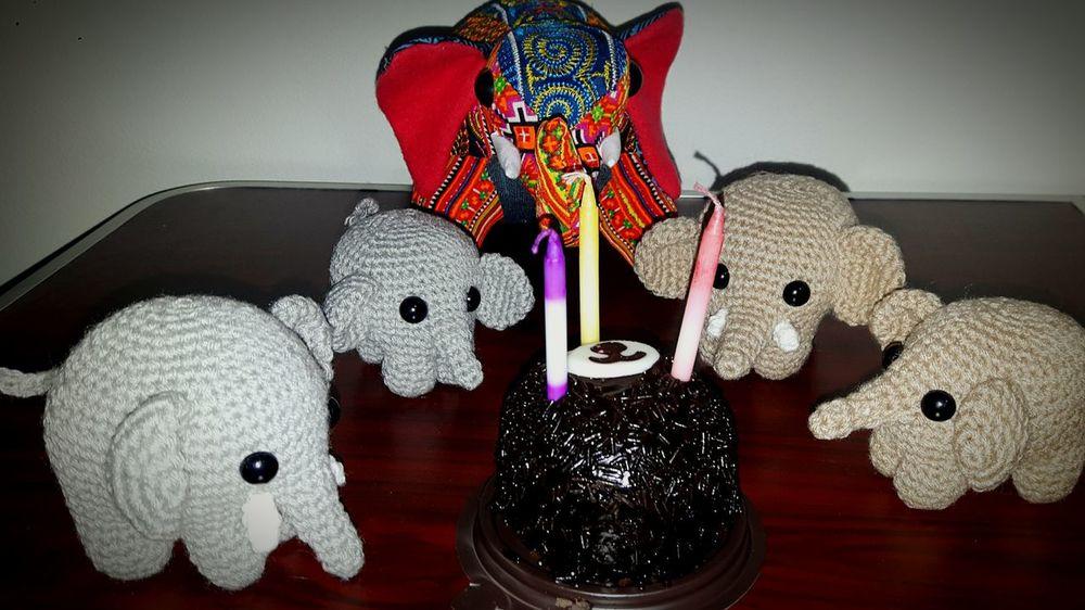 Elephant Elephants Elephant Crochet Crochet Happy Birthday Cake Browny Chocolate Chocolate Brownie Brownie Cake