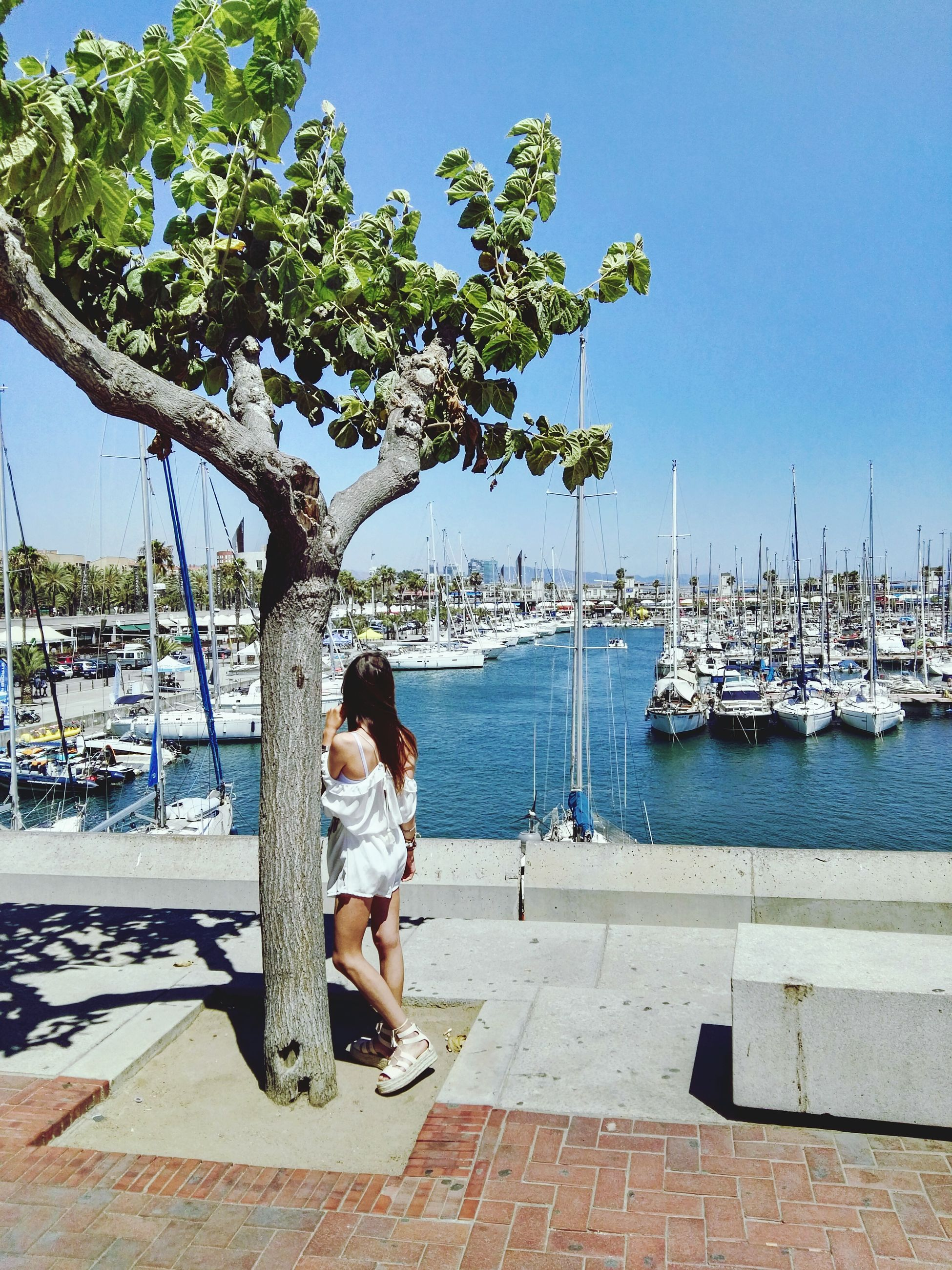 tree, full length, transportation, casual clothing, childhood, lifestyles, nautical vessel, leisure activity, mode of transport, relaxation, sitting, clear sky, water, day, summer, sky, innocence, promenade