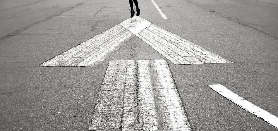 Arrow Symbol Leisure Activity Lifestyles Arrow Arrow Sign Road Sign Street Sign Black And White Bw Blackandwhite Jumping Shot Jumping Jumping High High Up In The Air And Action! Asphalt Road Asphalt Photography Asphalt Resist Sign Signs_collection Forward Way Out