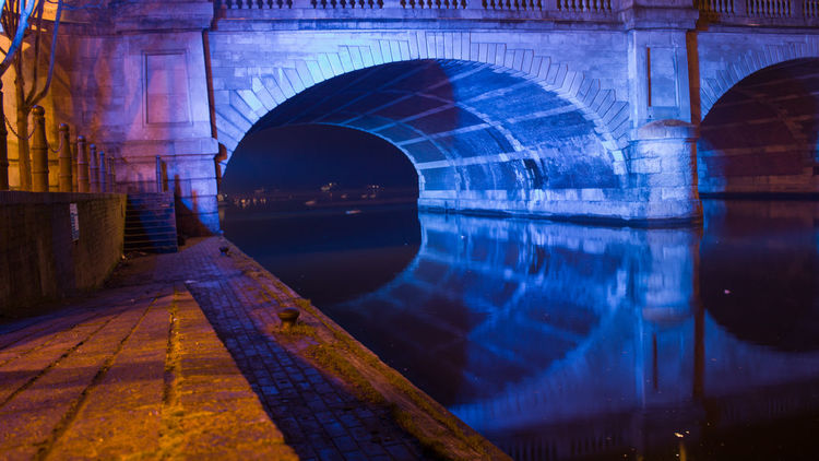 Arch Architecture Bridge - Man Made Structure Built Structure Long Exposure Night Lights Nightphotography Nightshot Reflection The Way Forward Tunnel Kingston Bridge River Outdoors Illuminated