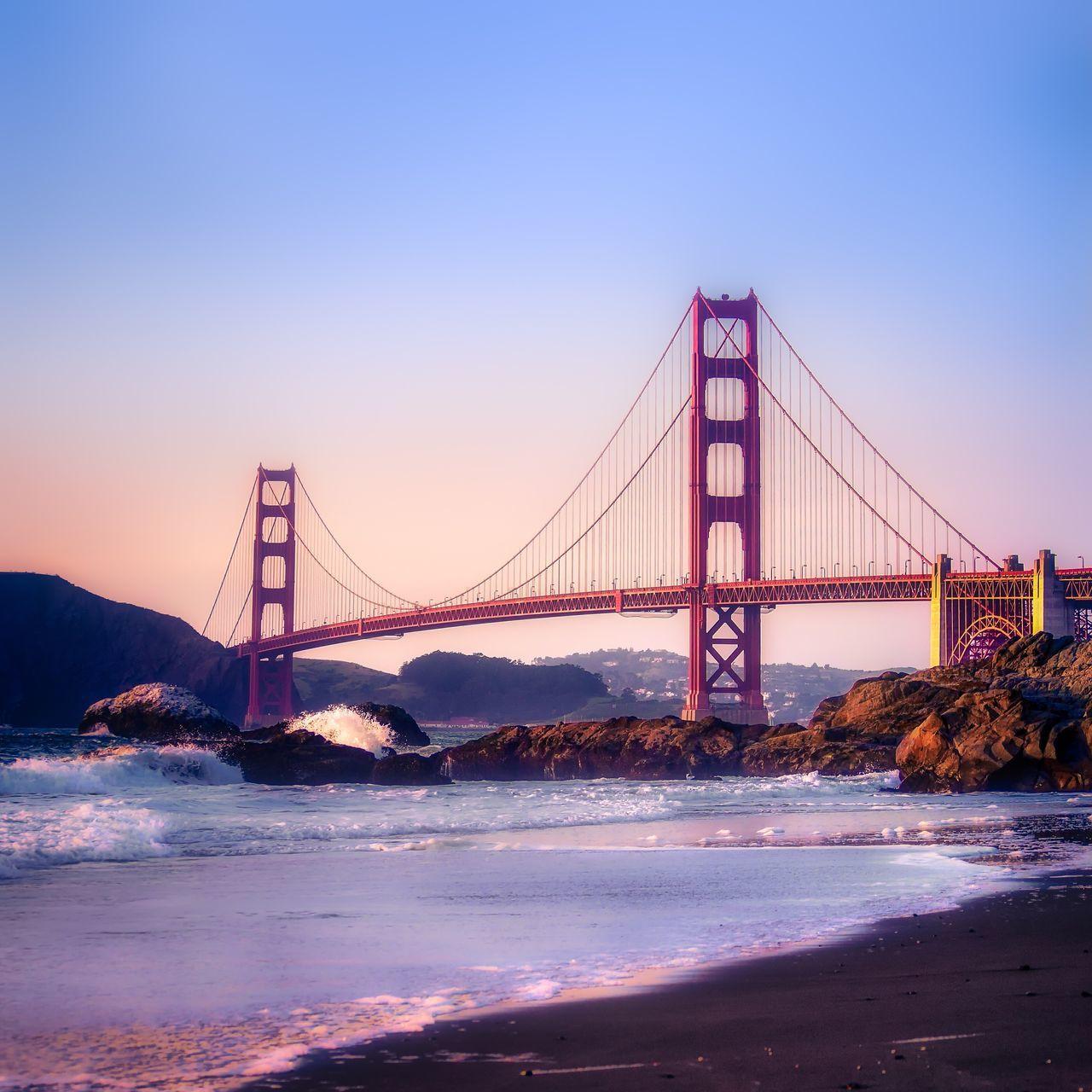 Bridge Sunset Water Bay Area Travel Photography Golden Hour San Francisco Golden Gate Bridge Serenity... Travel Destinations Outdoors Architecture Travel San Francisco California Suspension Bridge Ocean Travel California Pacific Ocean Pacific Coast Beach