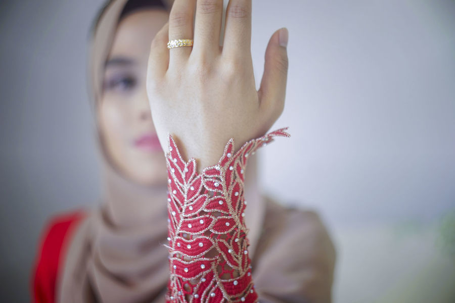 Asian  Asian Beauty Day Engagement Engagement Photography Engagement Ring Hijab Fashion Hijabfashion Hijabstyle  Malay Engagement Muslim Engagement Muslim Wedding Muslim Women Muslimwedding One Person People Red Dress