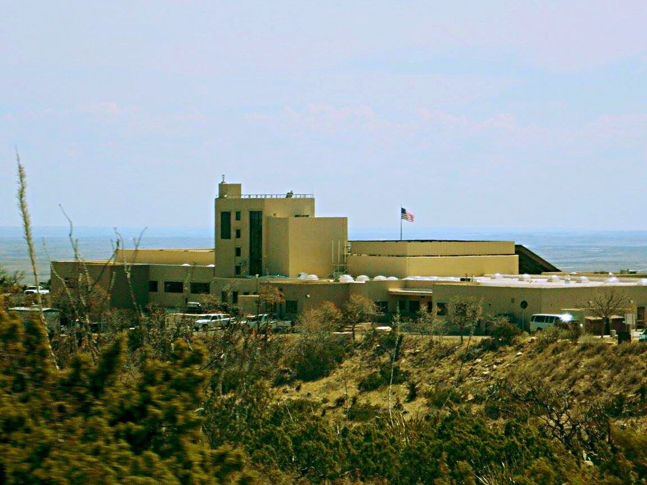 Carlsbad Caverns visitor center from afar. No People Building Exterior Sky