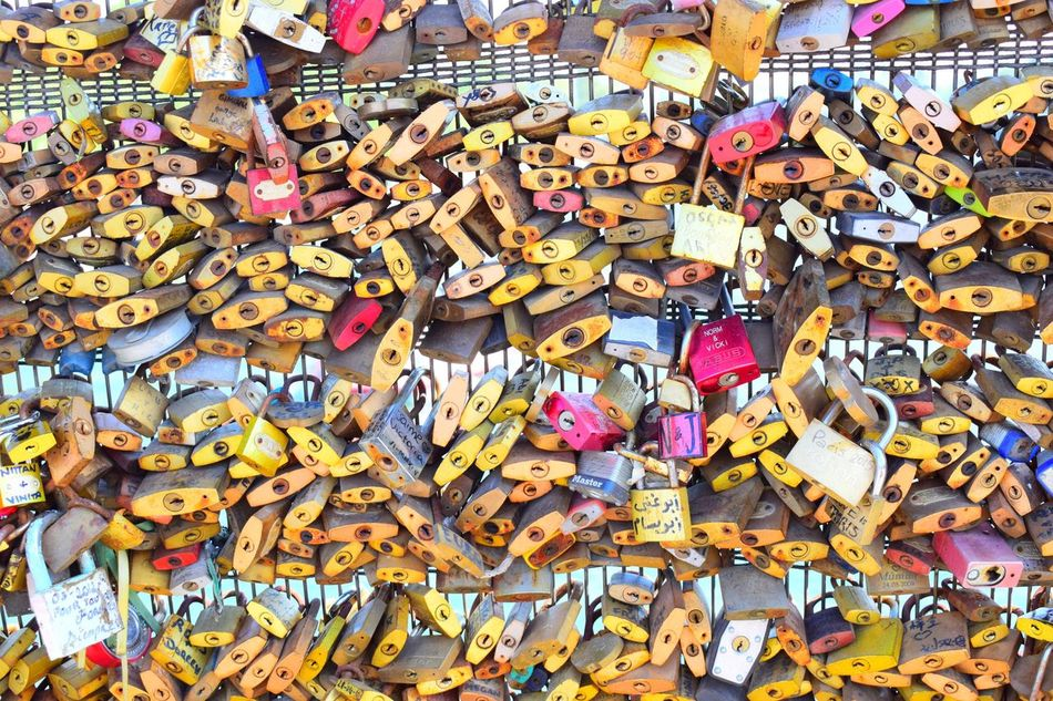 All about love. Paris Abundance Large Group Of Objects Love Love Lock Hanging Multi Colored Lock Variation Hope Hope - Concept Outdoors Full Frame Railing Message Bridge - Man Made Structure Text Backgrounds Luck Day