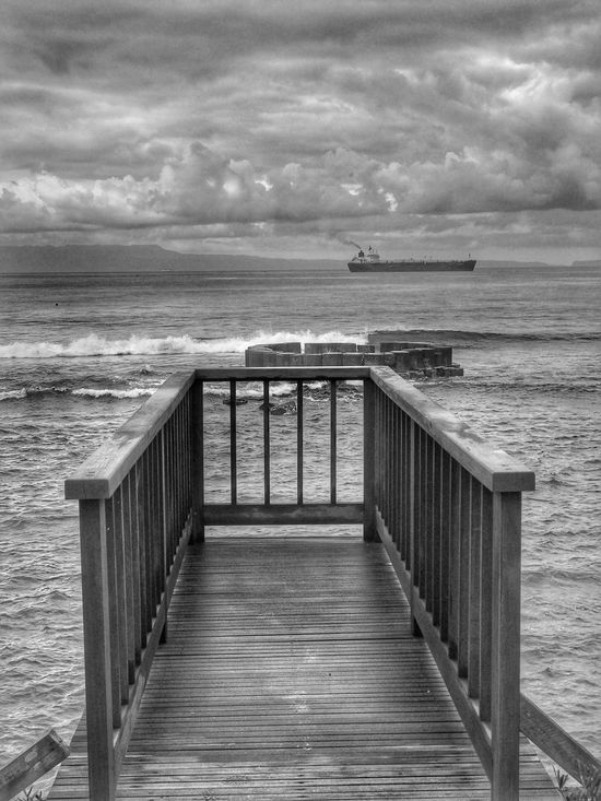 Sea Water Horizon Over Water Wood Paneling Blackandwhite Black And White Railing Cloud - Sky Tranquility Scenics No People Sky Outdoors Tranquil Scene Nature