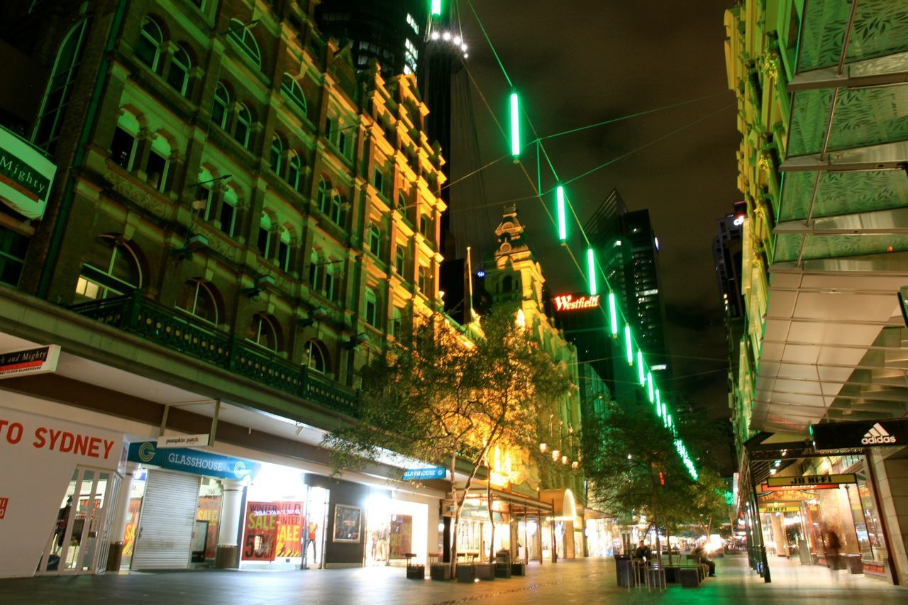 illuminated, night, architecture, building exterior, built structure, city, low angle view, neon, outdoors, real people
