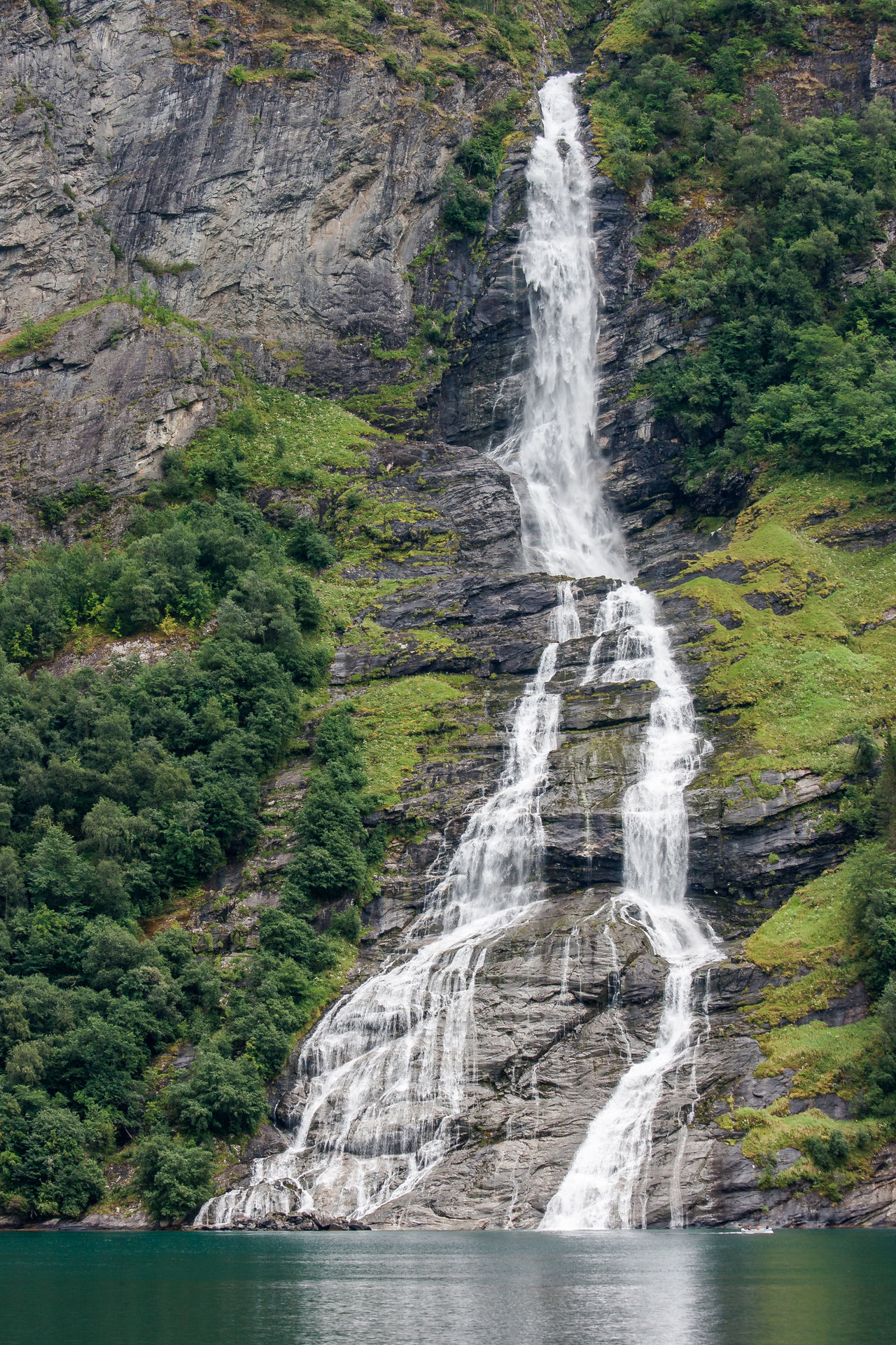 Friaren Geirangerfjord Norway Seven Sisters Wonderful Beauty In Nature Boat Bottle Day Fjord Geiranger Nature No People Outdoors River Rock - Object Scenics Splashing Tourism Travel Destinations Tree Water Waterfall