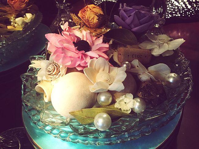 Interior Style DIY Vintage Pearls Wine Cork Pink Flower Pearl
