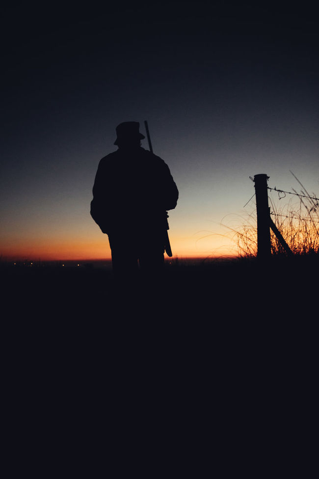 Silhouette of hunter with gun at sunrise on grassland Agriculture Aiming Field Hobby Hunter Hunting Lifestyle Long Grass Man Morning Nature Observe People Permit Shooting Shotgun Silhouette Skill  Sniper Sunrise Weapon Western Wild Animals Wilderness Wildlife