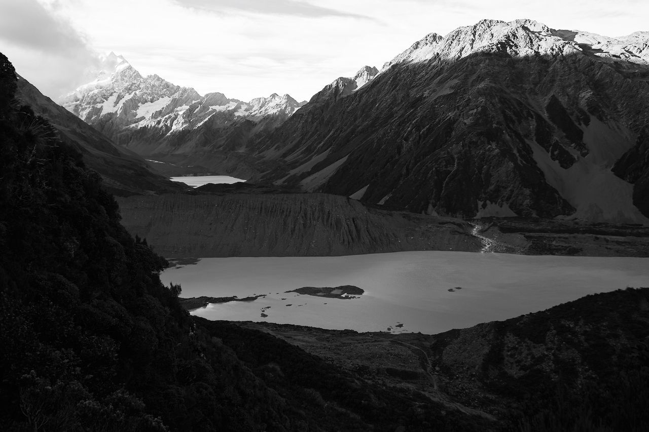Mt Cook, New Zealand Mountain Landscape Wilderness Mountain Range Beauty In Nature Scenics Nature Outdoors Sky No People Water Day Blackandwhite Black & White