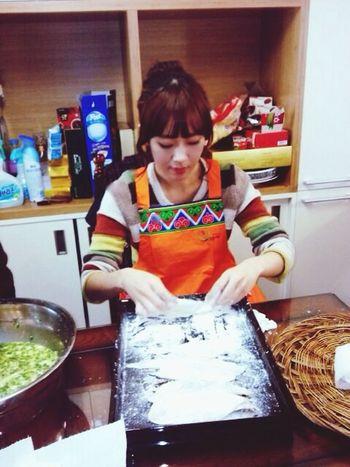 Korea Traditional Food named geon :) Helping Mom