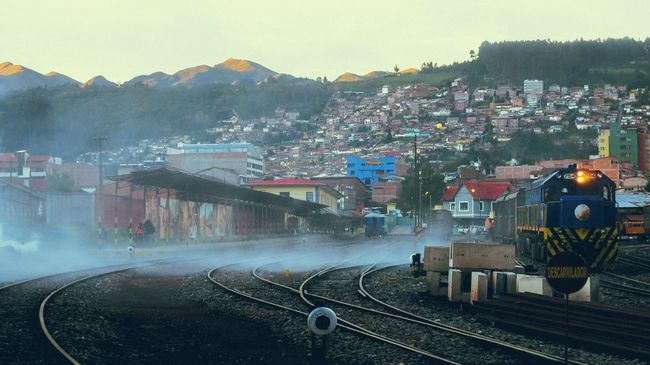 Hillside RAWphotography Travel Cusco Sunset Evening Light Walking Around Timeout Lovingit Train Tracks Train Line