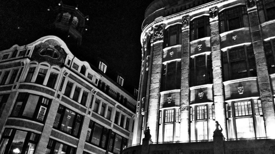 Black And White City Architecture Building Exterior Business Finance And Industry No People Outdoors Night Architecture Monochrome Photography Built Structure