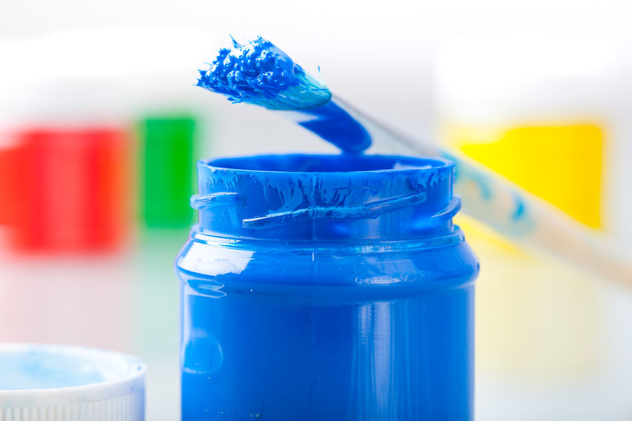 Paint colors in glass bottles Arts Brush Close-up Colors Day Indoors  Isolated Multi Colored No People Paint Supply Table White Background