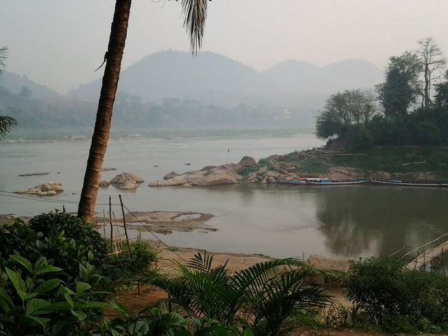 Laos Luang Prabang Mekong River Nam Khan River Riverside Riverbank Mountains And Sky Travelshots Travel Southeast Asia Peaceful Palm Trees Feel The Journey
