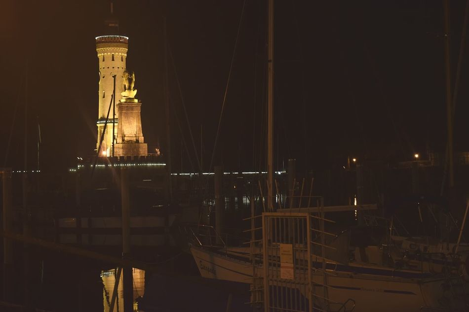Harbor Night Illuminated Beauty In Nature Lindau Hafen Nature Sea Leuchtturm Tourism City Islandlife Ships⚓️⛵️🚢 Ships On The Water Shipping  Lindau Bodensee Lindau